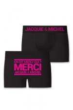 Boxer J&M Merci qui : Boxer sans couture, coloris noir,  avec inscription On dit merci qui? Merci Jacquie & Michel sur l'arrière.