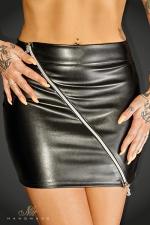 Mini jupe Ruler : Mini jupe moulante faux cuir barrée d'un double zip argenté en diagonale aux tirettes N décoratives au monogramme de la marque.