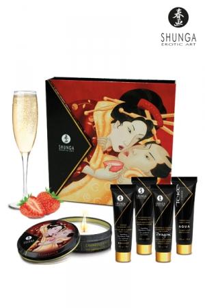 Coffret Secret de geisha vin pétillant à la fraise - Coffret signé Shunga pour une soirée érotique inoubliable ou un cadeau érotique et sensuel.