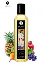 Huile de massage érotique - Fruits Exotiques : Huile de massage érotique Libidoaux fruits exotiques pour éveiller les sens et la réceptivité amoureuse, par Shunga.