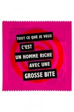 Préservatif humour - Un Homme Riche Avec... : Préservatif Un Homme Riche Avec...,  un préservatif personnalisé humoristique de qualité, fabriqué en France, marque Callvin.