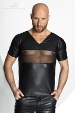 Tee-shirt STRONGER Peck : Tee-shirt V sexy en wetlook mat barré d'une large bande de tulle transparent sur la poitrine.